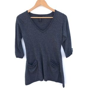 Ella moss gray scoopneck sweater with pockets